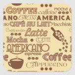 Coffee Words Square Sticker