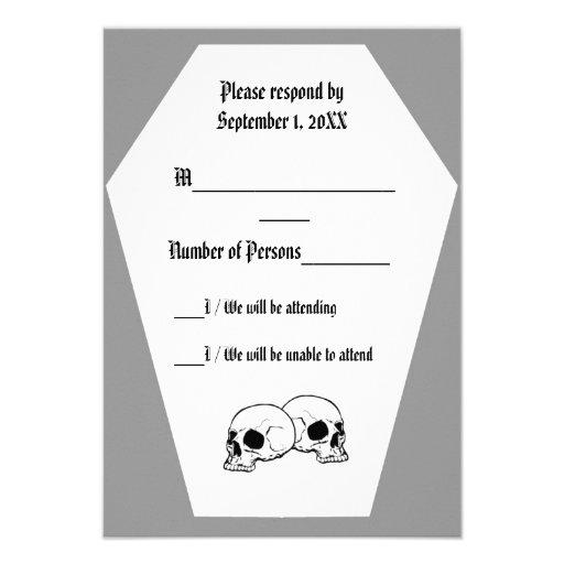 Coffin (Grey) RSVP Card Custom Invites