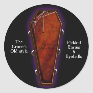 coffin nail canning classic round sticker