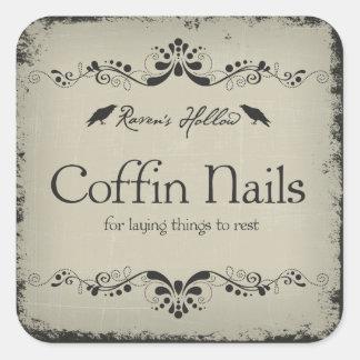 Coffin Nails Halloween Jar Sticker Label