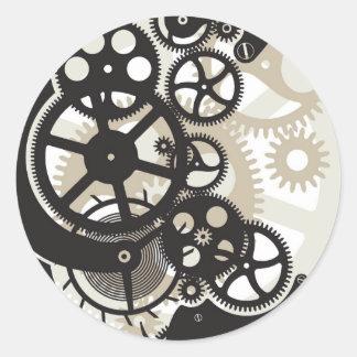 Cog wheels work classic round sticker