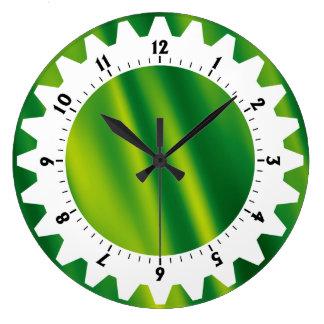 Cogged 01 - Green Waves Wall Clock