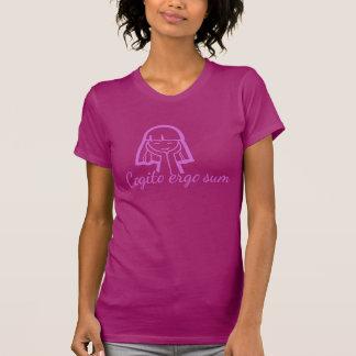 Cogito ergo sum thinking girl pink purple t-shirt