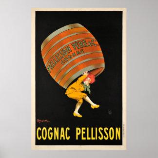 Cognac Pellisson Beverage Barrel Vintage Poster