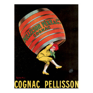 Cognac Pellisson Vintage Wine Drink Ad Art Postcard