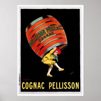Cognac Pellisson Vintage Wine Drink Ad Art Poster