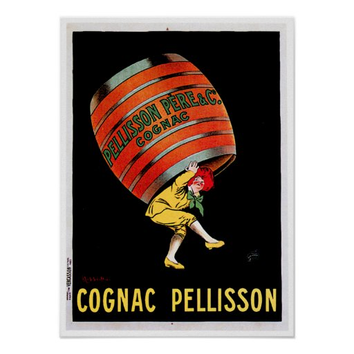 Cognac Pellisson Vintage Wine Drink Ad Art Posters