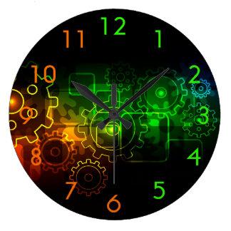 Cogwheels mechanics on black, neon green orange large clock