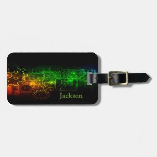 Cogwheels mechanics on black, neon green orange luggage tag