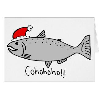 Cohohoho Christmas Salmon Doodle Card