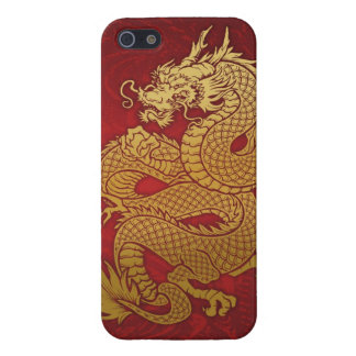 Coiled Chinese Dragon Gold on Red iPhone 5/5S Cases