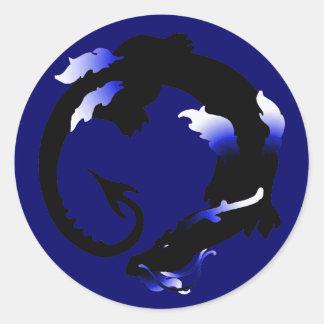 Coiled Dragon Silhouette Classic Round Sticker