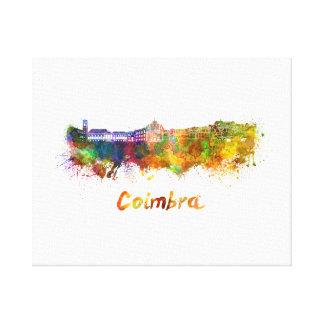 Coimbra skyline in watercolor canvas print
