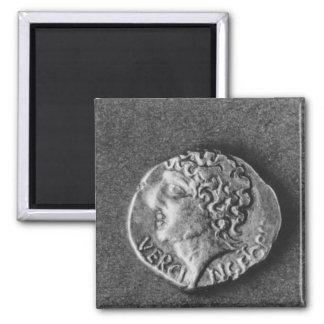 Coin bearing the effigy of Vercingetorix Square Magnet