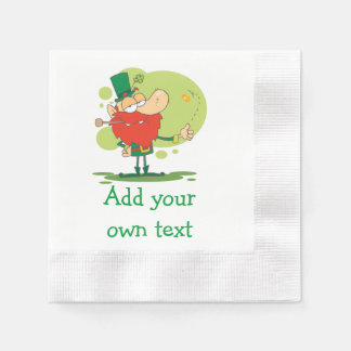 Coin Flipping Leprechaun Add Your Own Text Disposable Napkins
