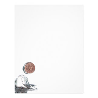 Coin splash in water on a white background flyer