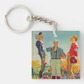 Coin Toss by Norman Rockwell Double-Sided Square Acrylic Key Ring