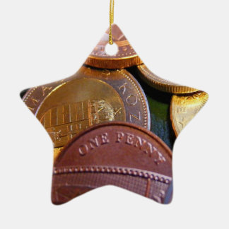 Coins for luck ceramic star decoration
