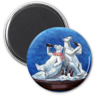 Cola-drinking Polar Bears 6 Cm Round Magnet