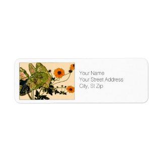 Coladiums and Yellow Coreopsis Botanical Art Return Address Label