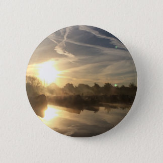 Cold and frosty morning. 6 cm round badge