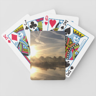 Cold and frosty morning. bicycle playing cards