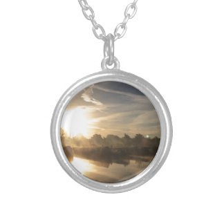 Cold and frosty morning. silver plated necklace