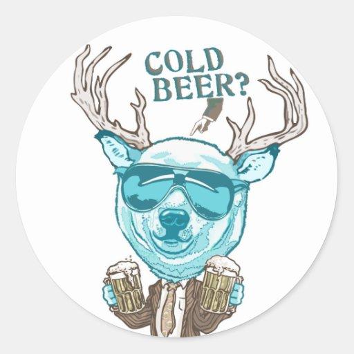 Cold Beer? Funny Polar Beer Deer Hybrid Round Stickers