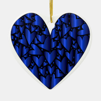 Cold Blue Heart Ceramic Heart Decoration