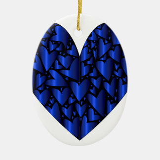 Cold Blue Heart Ceramic Oval Decoration
