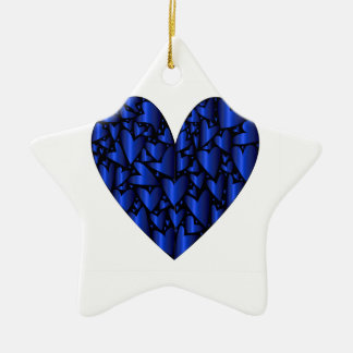 Cold Blue Heart Ceramic Star Decoration