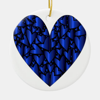 Cold Blue Heart Round Ceramic Decoration