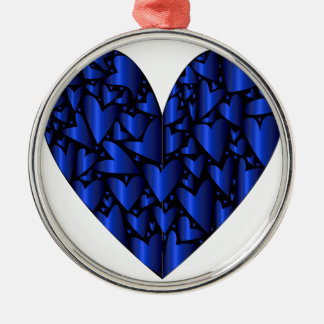 Cold Blue Heart Silver-Colored Round Decoration