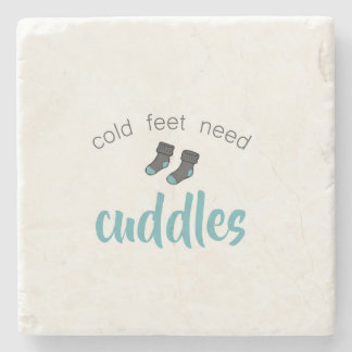 Cold Feet Need Cuddles Stone Beverage Coaster