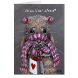 Cold Rat with Scarf Valentine's Day Card