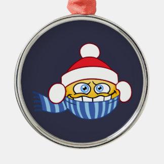 Cold Santa Emoji Christmas Ornament