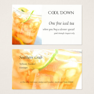 Cold tea with citrus slices business card