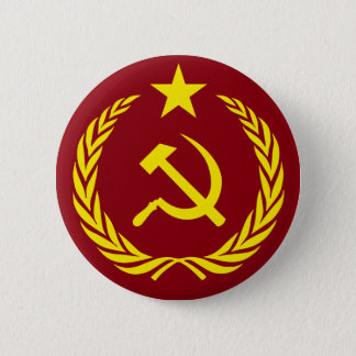 Cold War Communist Flag Round Button