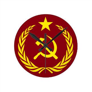 Cold War Communist Flag Round Wall Clock