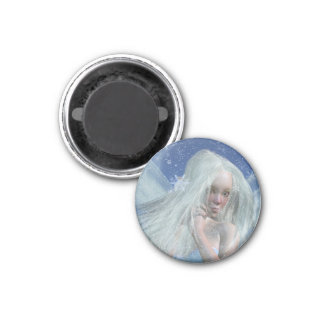 Cold Winter Fairy Portrait 3 Cm Round Magnet