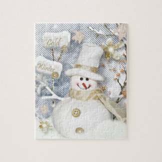 Cold Winter Snowman Jigsaw Puzzle