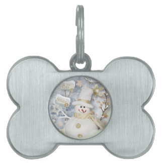 Cold Winter Snowman Pet Name Tag