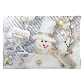 Cold Winter Snowman Placemat