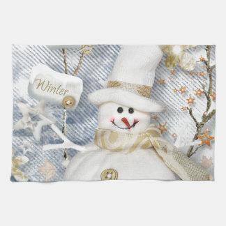 Cold Winter Snowman Tea Towel