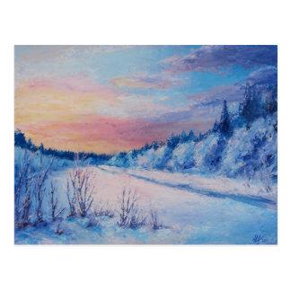 Cold winter sunset postcard