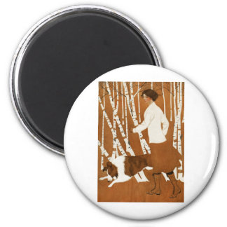 Coles Phillips  Fadeaway Woman Jogging with Collie 6 Cm Round Magnet