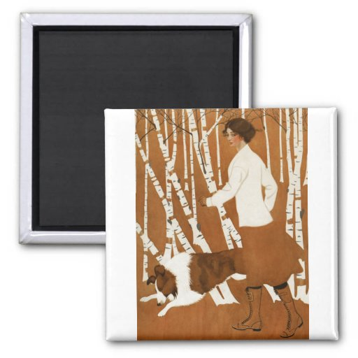 Coles Phillips  Fadeaway Woman Jogging with Collie Refrigerator Magnets