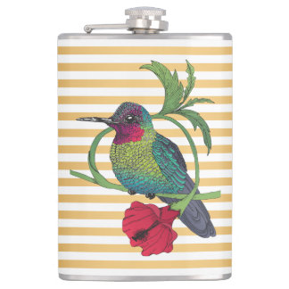 Colibri Bird Gold Stripes Illustration Flask