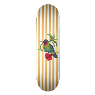 Colibri Bird Gold Stripes Skateboard Deck