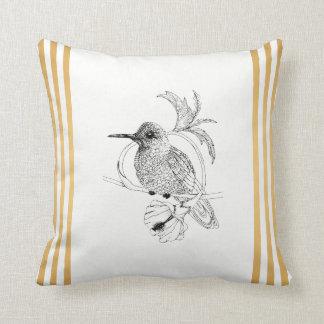 Colibri Bird Gold Stripes Throw Pillow